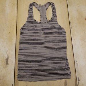 Grey striped workout tank